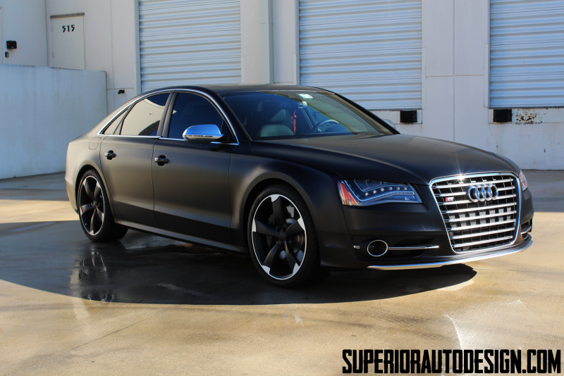 2013 Audi S8 Looks The Business in Satin Black Wrap - Photo Gallery